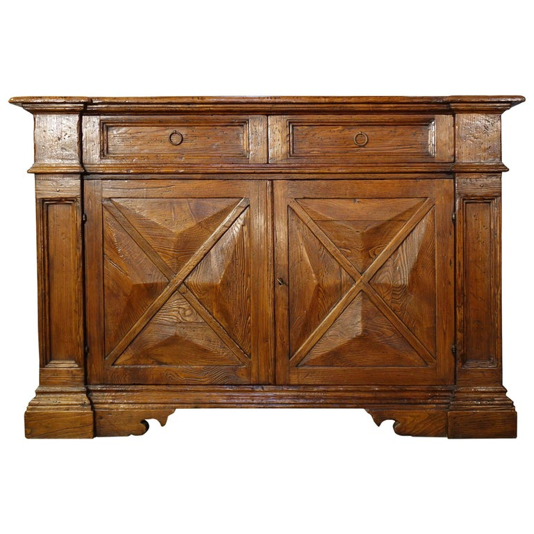 18th Century Style Italian Old Chestnut 2 Door Credenza Sideboard with 2 Drawers For Sale