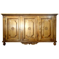 18th Century Style Italian 3 Door Natural Walnut Credenza Sideboard