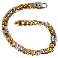 Authentic Italian Braccio Men's Diamond Curb Link Bracelet 14 Karat