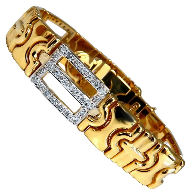 Authentic Italian Men's Diamond Byzantine Deco Link Bracelet 18 Karat
