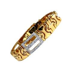 Authentic Italian Men's Diamond Byzantine Deco Link Bracelet 18 Karat