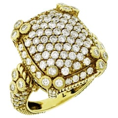 Authentic Judith Ripka 18 Karat Yellow Pave 2.70 Carat Diamond Ring