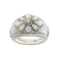 Authentic Judith Ripka White and Pink Mothe of Pearl Flower Ring, U223
