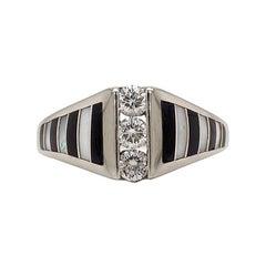 Authentic Kabana Solid 14 Karat Gold Genuine Diamond Mosaic Inlay Ring 4.5g