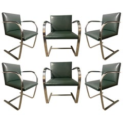Authentic Knoll Brno Chairs by Mies van der Rohe in Stainless Steel