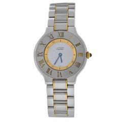 Authentic Ladies Cartier Must de Cartier Quartz Steel Gold Watch