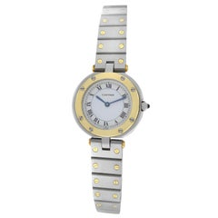 Authentic Ladies Cartier Santos Ronde 18 Karat Yellow Gold Quartz Watch