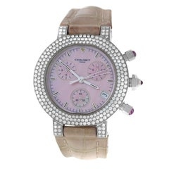 Authentic Ladies Chaumet Chronograph 18K White Gold MOP Diamond 40MM Watch