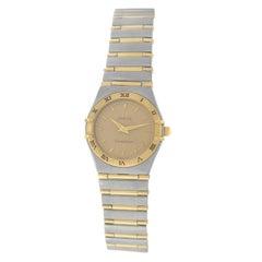 Authentic Ladies Omega Constellation Full Bar 18 Karat Gold Quartz Watch