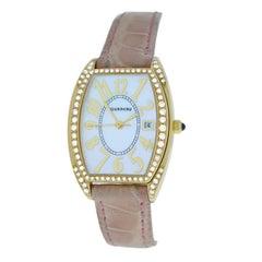 Authentic Ladies Tourneau 18K Rose Gold Diamond MOP Quartz 26MM Watch