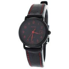 Authentic Ladies Tourneau Black PVD Quartz Date Red Numerals Watch
