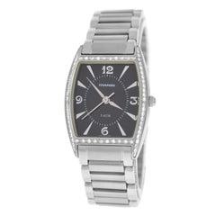 Authentic Ladies Tourneau Diamond Bezel Stainless Steel Quartz Watch