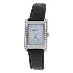 Authentic Ladies Tourneau Diamond Mother-of-Pearl Steel Quartz Watch