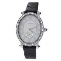 Authentic Ladies Tourneau Quartz Diamond Steel Mother of Pearl Watch