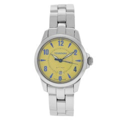 Authentic Ladies Tourneau Steel Automatic Yellow Dial Watch