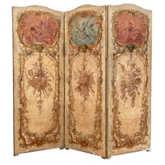 Authentic Late 18th-Early 19th Century French Three-Panel Painted Screen