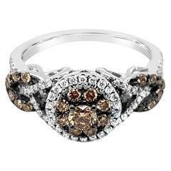 Authentic Le Vian 14 Karat White Gold White and Chocolate Diamond Halo Ring