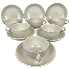Set of Six Authentic Leedsware Cups and Saucers with Double Strap Handles