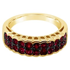 Authentic LeVian 14 Karat Yellow Gold Red Ruby Baguette Band Ring