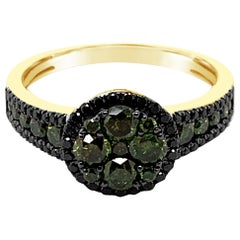 Authentic Levian 14k Yellow Gold Green & Black Diamond Channel Cluster Halo Ring