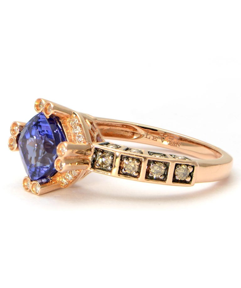 Authentic LeVian Solid 14 Karat Rose Gold Tanzanite And