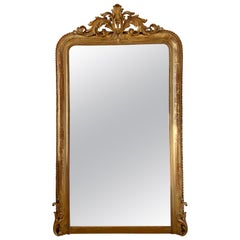 Authentic Louis Philippe Floor Giltwood Red Mercury Ice Mirror, circa 1840
