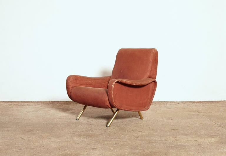 Italian Authentic Marco Zanuso Lady Chair, Arflex, Italy, 1960s for Re-Upholstery For Sale