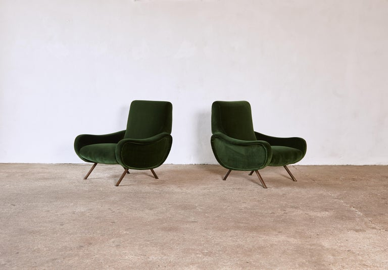 Brass Authentic Marco Zanuso Lady Chairs, Arflex, Italy, 1950s, Newly Reupholstered