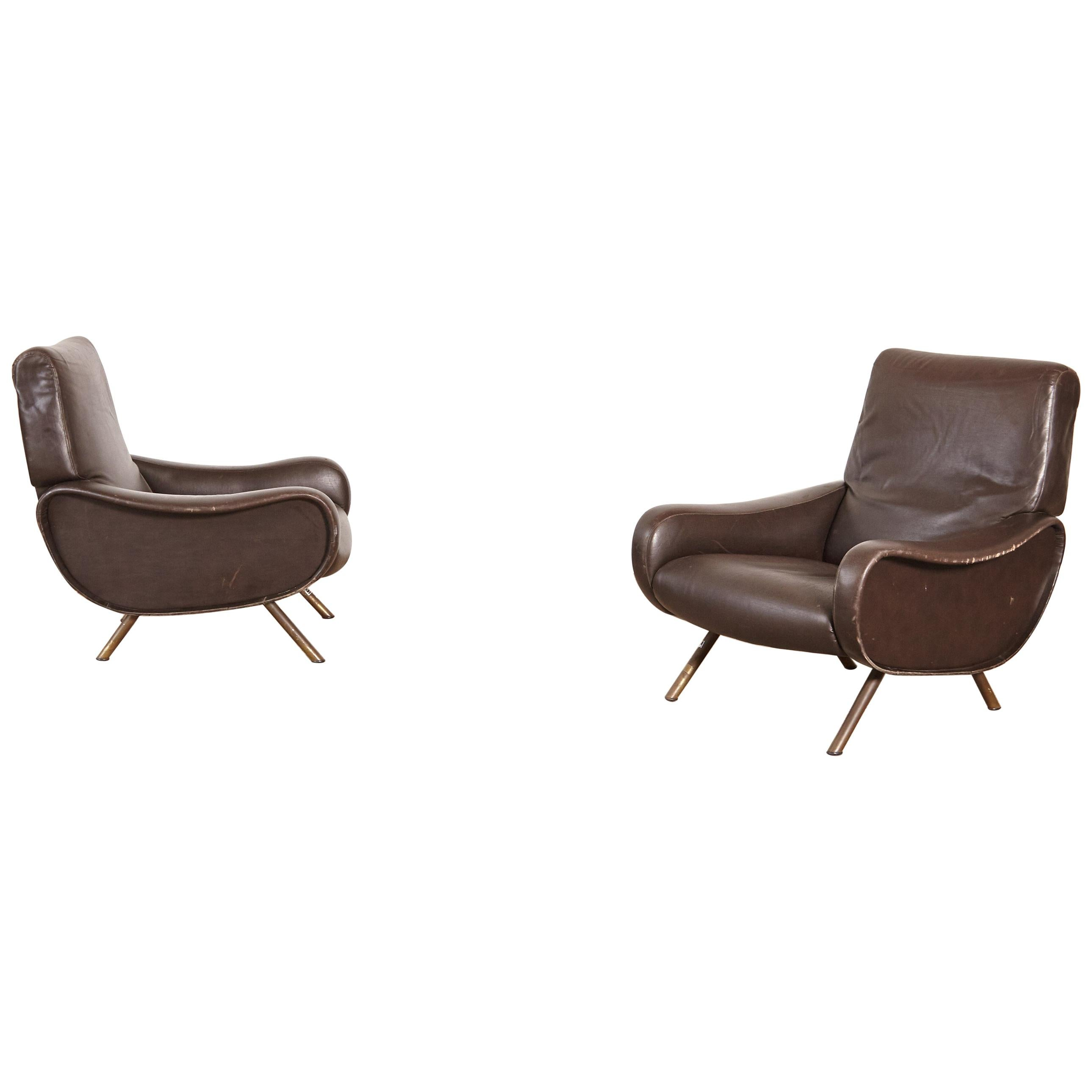 Authentic Marco Zanuso Lady Chairs, Arflex, Italy, 1960s, for Reupholstery