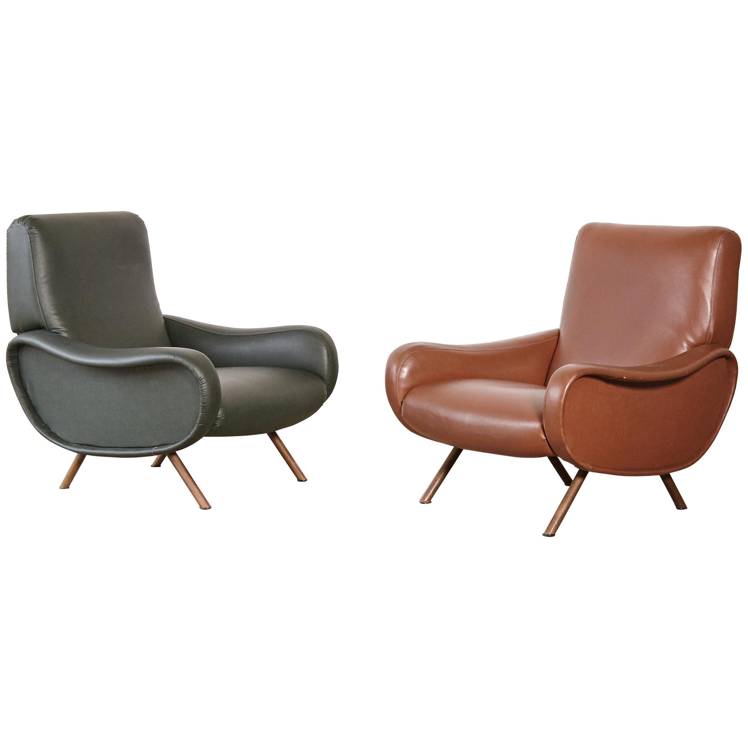 Authentic Marco Zanuso Lady Chairs, Arflex, Italy, 1950s/1960s