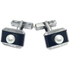 Authentic Mikimoto Men's Cufflinks Akoya Pearl 925 Sterling Silver