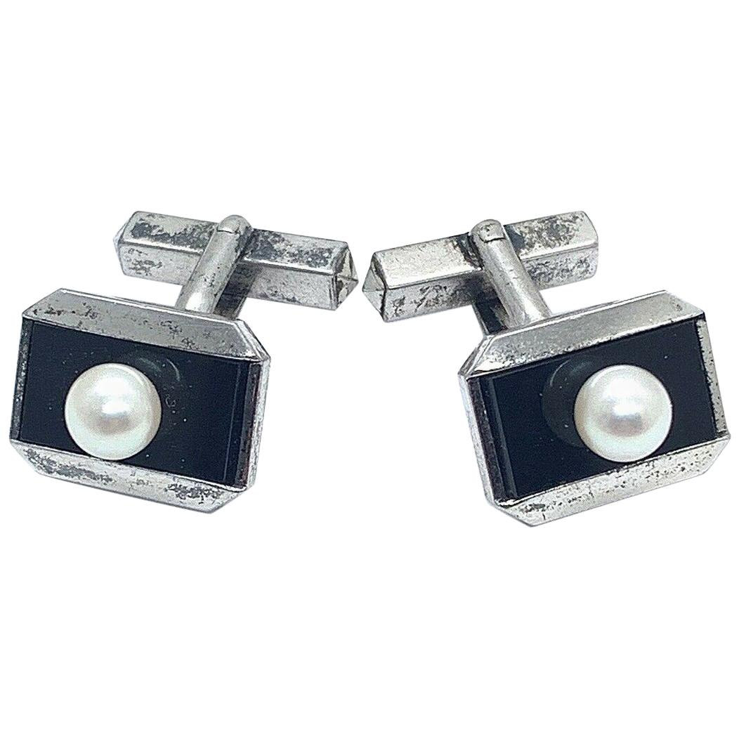 Mikimoto Estate Cufflinks Akoya Pearl Sterling Silver
