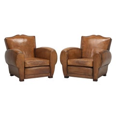 Authentic Mustache French Leather Club Chairs, Restored by Old Plank Correctly