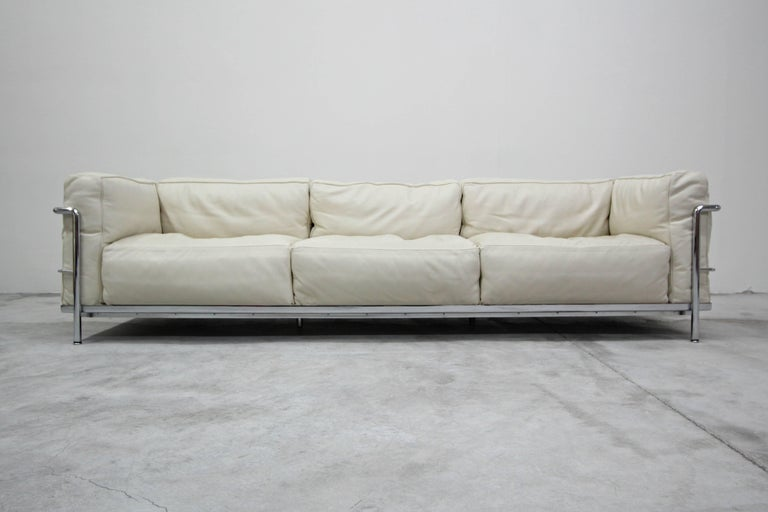 Authentic Pair Of Lc3 Cina Grand Modele Three Seat Sofas By Le Corbusier For