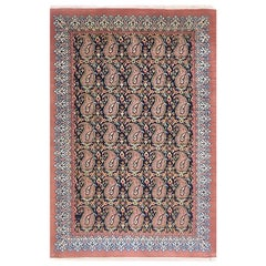 Authentic Persian Hand Knotted All Over Paisley Floral Qum Rug
