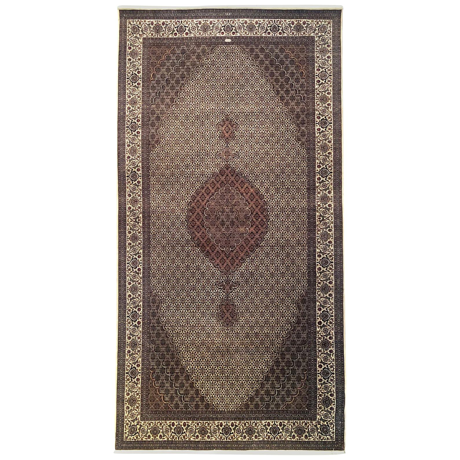 Authentic Persian Hand Knotted Medallion Cream Fish Design 'Mahi' Tabriz Rug