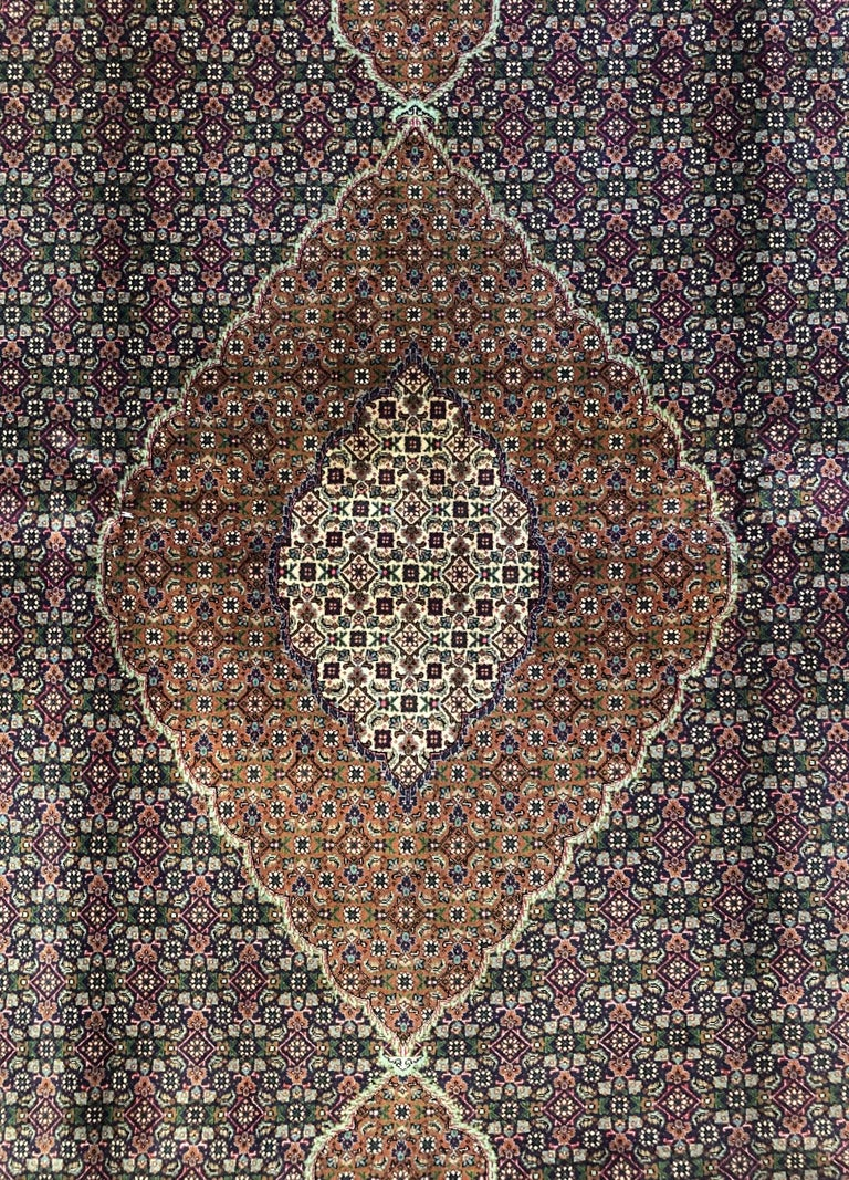 Mid-20th Century Authentic Persian Hand Knotted Medallion Fish Design 'Mahi' Tabriz Rug For Sale