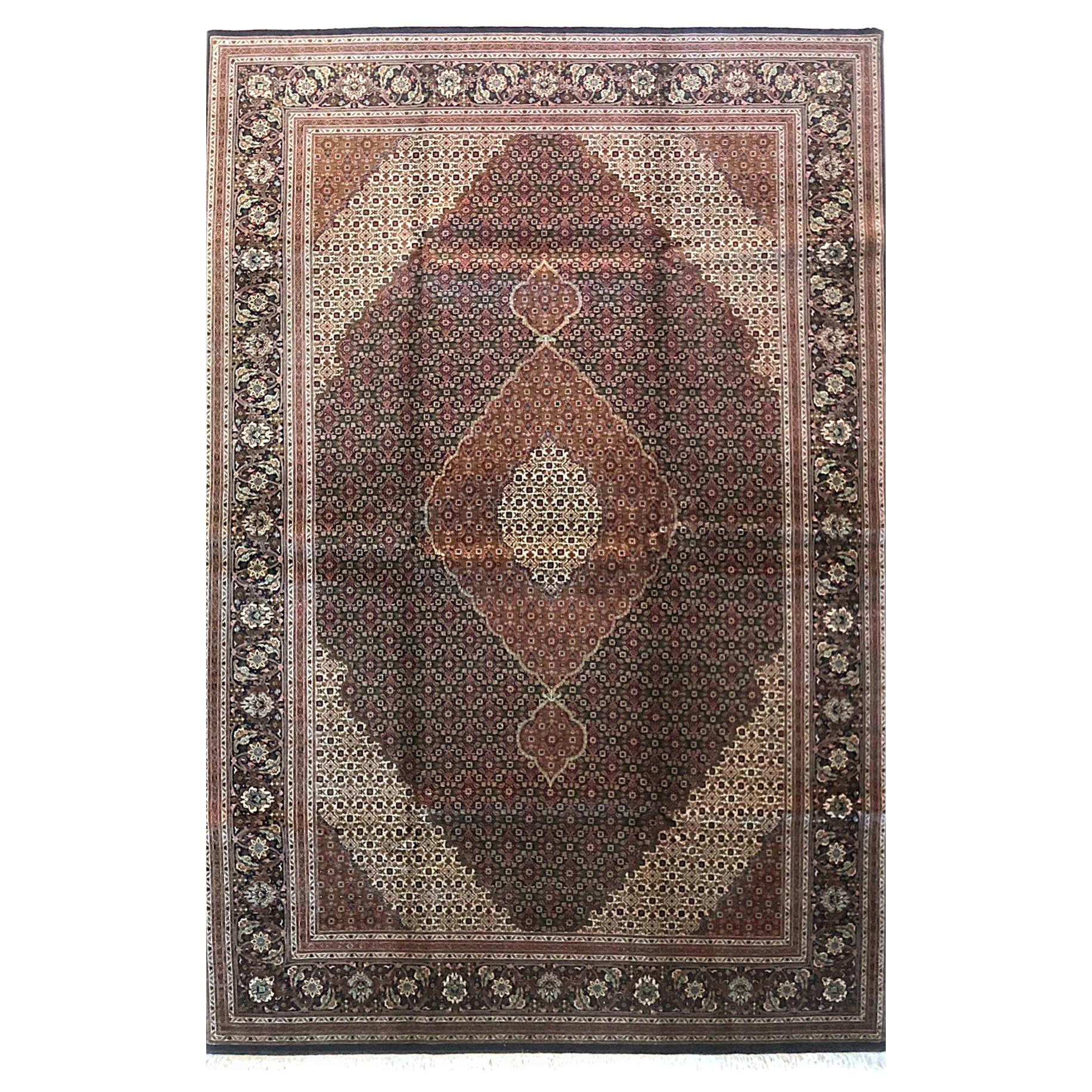 Authentic Persian Hand Knotted Medallion Fish Design 'Mahi' Tabriz Rug