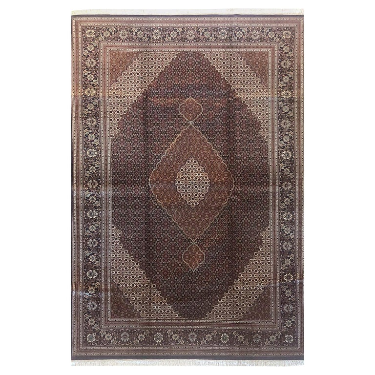 Authentic Persian Hand Knotted Medallion Fish Design 'Mahi' Tabriz Rug For Sale