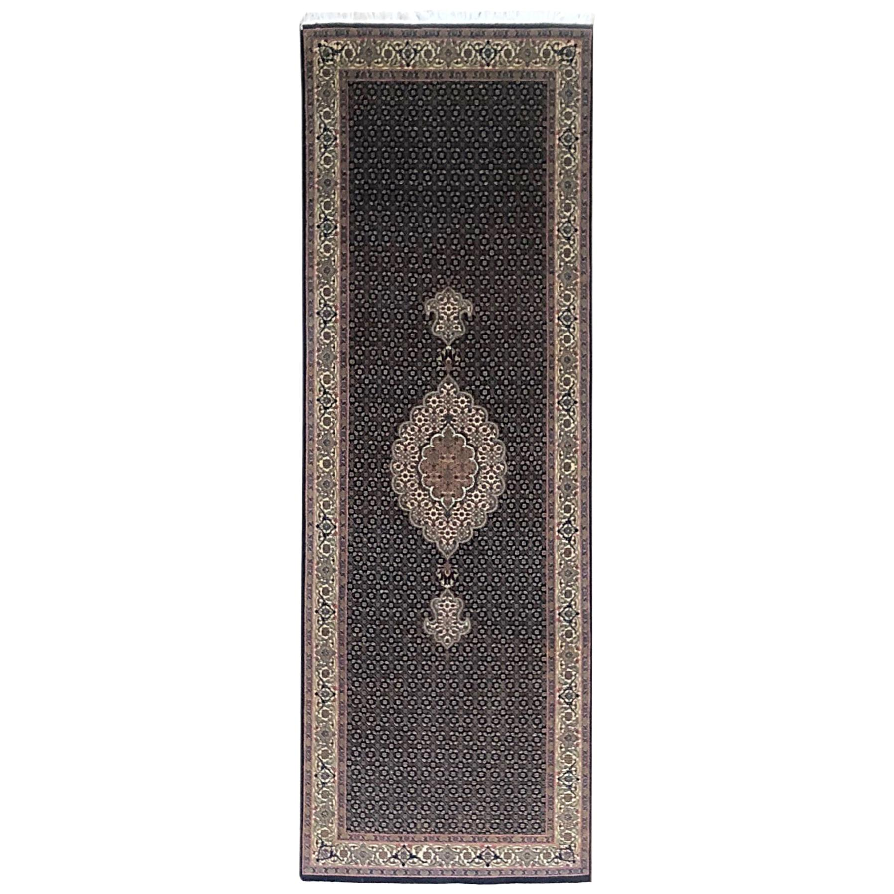 Authentic Persian Hand Knotted Medallion Fish Design 'Mahi' Tabriz Runner Rug