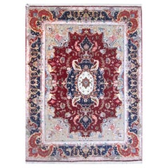 Authentic Persian Hand Knotted Medallion Floral Red Tabriz Rug