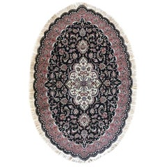 Authentic Persian Hand Knotted Medallion Floral Tabriz Black Oval Rug