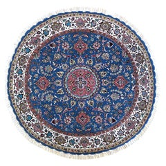 Authentic Persian Hand Knotted Medallion Floral Tabriz Blue Round Rug