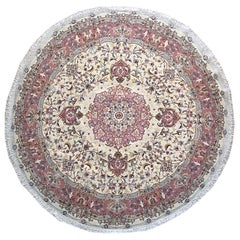 Authentic Persian Hand Knotted Medallion Floral Tabriz Cream Round Shape Rug