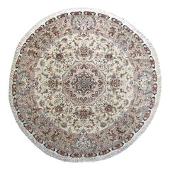 Authentic Persian Hand Knotted Medallion Floral Tabriz Round Rug