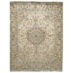 Authentic Persian Hand Knotted Medallion Floral Tabriz Rug