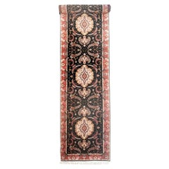 Authentic Persian Hand Knotted Repeated Medallion Floral Tabriz Black Runner Rug