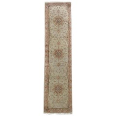 Authentic Persian Hand Knotted Repeated Medallion Floral Tabriz Runner Rug