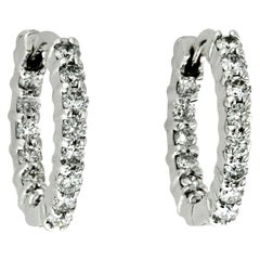 Authentic Roberto Coin 18 Karat White Gold Inside and Out Diamonds Hoop Earrings