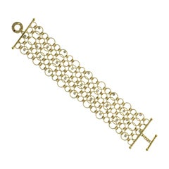 Authentic Roberto Coin 18 Karat Yellow Gold Diamond Wide Link Bracelet